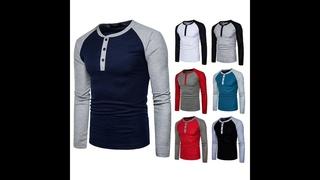 Мужская хлопковая футболка с круглым вырезом, эластичная футболка пуловер с длинными рукавами для фитнеса, большие размеры