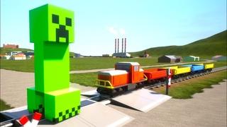 LEGO Майнкрафт крипер vs ЛЕГО поезд #2! Brick Rigs видео! Брик Ригс моды! Бриг Рикс аварии!